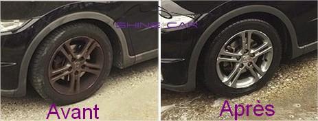 Nettoyant jantes alu wheel cleaner avant après polish secours shine car