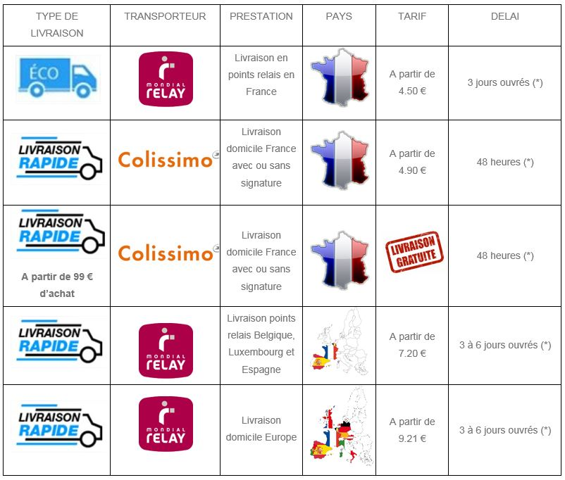 Modalités transport France et Europe Shine Car